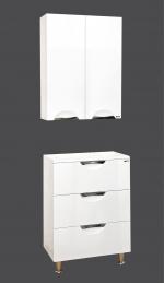 Лора-60 подвесной шкаф Марго-60 напольная тумба цвет белый